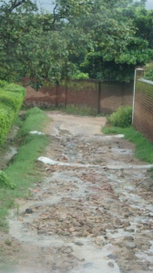 During my first week, it was very rainy. The is a side road in a village. It is hard to appreciate the condition on the picture but just let say that if we did not have a 4 wheel drive vehicle we would not have been able to use that road.
